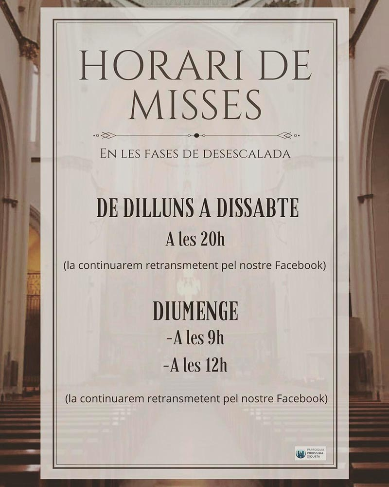 horario misas desescalada
